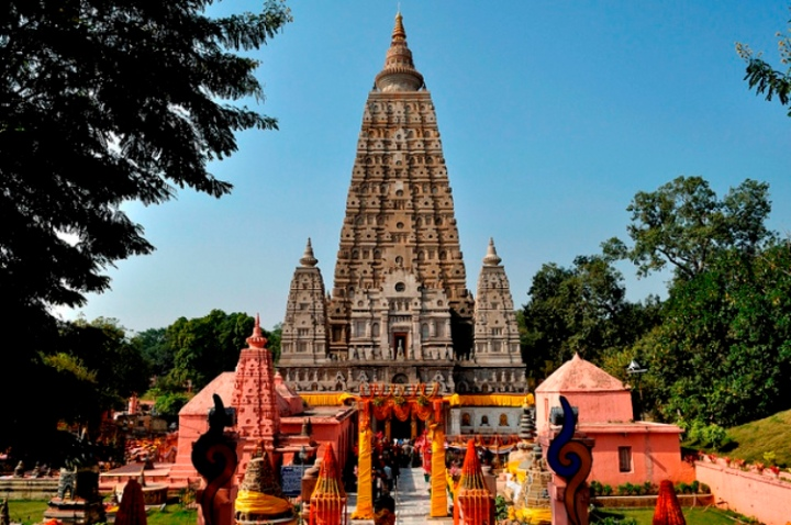 The Mahabodhi Temple Complex is one of the four holy sites related to the life of the Lord Buddha, and particularly to the attainment of Enlightenment. The first temple was built by Emperor Asoka in the 3rd century B.C., and the present temple dates from the 5th or 6th centuries. It is one of the earliest Buddhist temples built entirely in brick, still standing in India, from the late Gupta period.