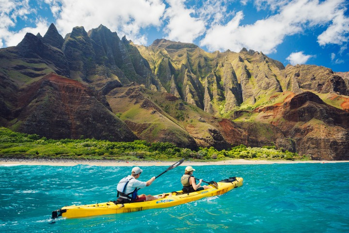 Kayaking on the Napali Coast, Kauai, HI