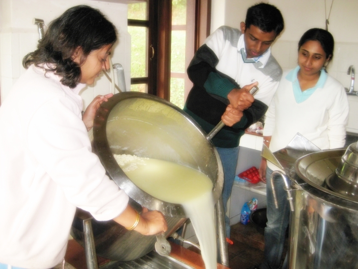 Pouring-the-Whey-Cheese-Making