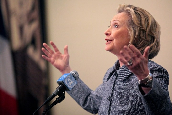 NEW YORK - MARCH 10: Former U.S. Secretary of State Hillary Clinton speaks to the media after keynoting a Women's Empowerment Event at the United Nations March 10, 2015 in New York City. Clinton answered questions about recent allegations of an improperly used email account during her tenure as secretary of state.   Yana Paskova/Getty Images/AFP