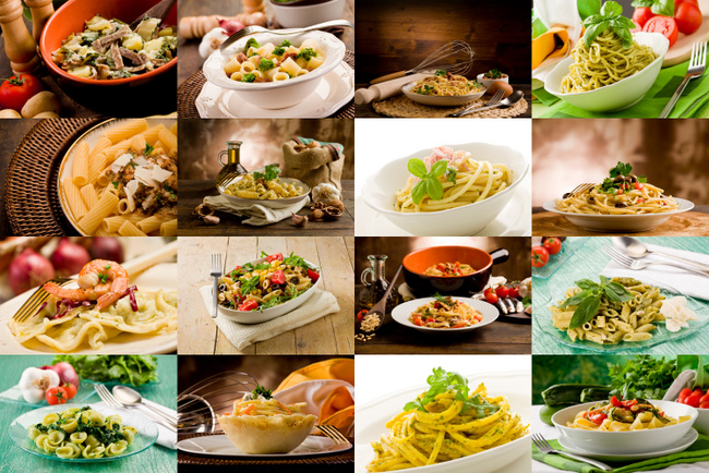 collage of various photo of delicious italian pasta dishes